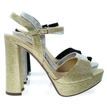 Forest By Delicious, Glitter Party Sandal, Chunky Block Heel Platform Open Toe Shoe