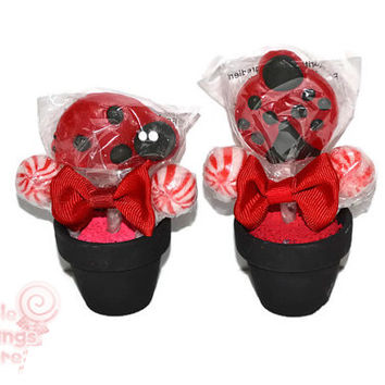 Mini Ladybug Lollipop Arrangement, Ladybug Lollipop Favor, Ladybug, Lollipop, Candy, Baby Shower, Favor, Edible, Garden Party