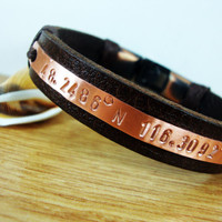 FREE SHIPPING - Men's Bracelet, Leather Men Bracelet,Men Bracelet. Personalized men's Leather Bracelet, Brown Leather, Brown Yarn and Copper