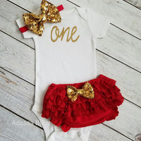 First Birthday Outfit Girl Red And Gold