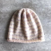Knit Hat, Knit Comfy Hat, Pink Knit Hat, Pink Beanie, Knitted Beanie, Stripe Beanie, Striped Hat, Womens Knit Hat, Girls Knit Hat, Comfy Hat