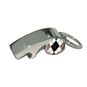 Argyle Hipster Black White Whistle Bottle Opener Keychain