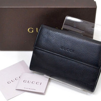 Authentic Gucci Black Leather Bifold Wallet Purse Check Book With Box And Card