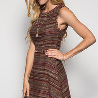 Fall Tweed Dress - Brown