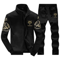 2 PCS 2017 New Fashion Sporting Suit men Style Long Sleeve Hoodies and Long Pants Causal Male Tracksuit Set 4XL 5XL