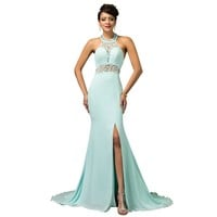 Unique designer Powder Blue Mermaid Evening Dress Gown Crystal Beaded Halter Prom Dress backless long slit Evening Dresses 7598