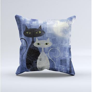 Abstract Black & White Cats Ink-Fuzed Decorative Throw Pillow