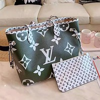LV Louis Vuitton Popular Women Leather Handbag Tote Shoulder Bag Purse Wallet Set Two-Piece