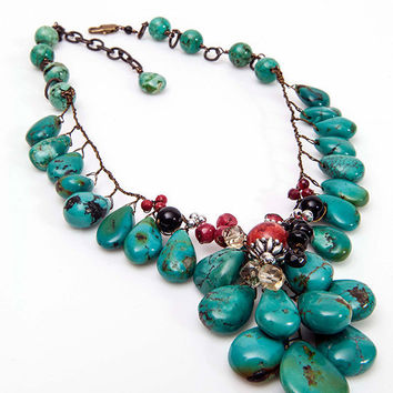 Turquoise Gemstone Necklace, Statement Necklace, beaded  Necklace, Nature Jewelry  CIJ Sale