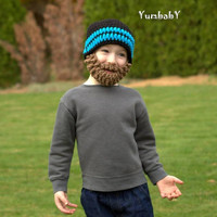 Beard Hat- Black and Neon Blue - All sizes- Bearded Beanie