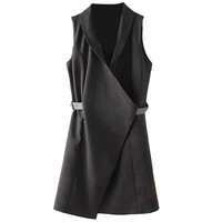 Collared Belted Longline Sleeveless Vest