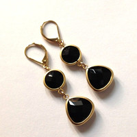 Dangle, Drop earrings /  Gold and black jewelry / Black onyx on leverback earrings / Fall fashion /