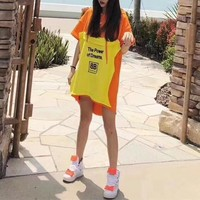 """Balenciaga"" Women Loose Casual Multicolor Letter Print Short Sleeve Hooded Sweater Mini Dress"