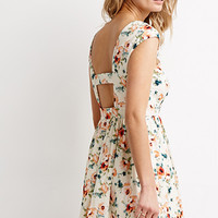 Cutout-Back Floral Print Dress