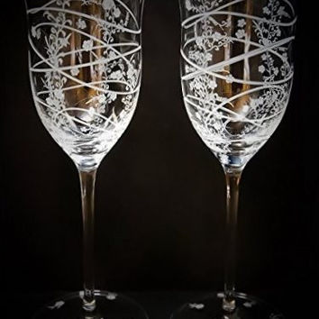 Hand engraved flowers on sparkling full lead crystal wine glasses