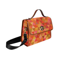 Autumn Colored Triangles Orange Waterproof Canvas Bag/All Over Print (Model 1641) | ID: D1839181