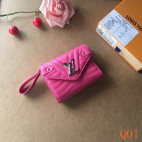 HCXX 19Aug 074 M63789 Louis Vuitton LV Initials Zipper Wristlet Bag 11-8.5-2cm Rose Red