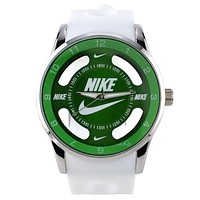 Nike Fashion Ladies Men Leisure Big Logo Watch Stylish Watch Sport Movement Lovers Watch White Green I-SBHY-WSL