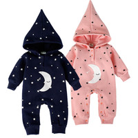 Fashion Baby Boys Girls Romper Winter Newborn Baby Clothes Cotton Flannel Warm Hooded Rompers Moon Star Baby Jumpsuit Clothing