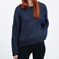 Light Before Dark Chunky Yarn Jumper in Navy - Urban Outfitters