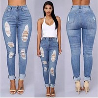 Skinny Holes Ripped Jeans Pants