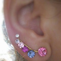 Ear Sweep Wrap - Cuff Earring with Swarovsky - Gold Filled - PINK