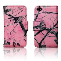 Apple iPhone 4 4s Pink Camo Mossy Tree Leather Wallet Case Cover with Clear Slot for ID, Credit Card Slots and Hidden Slot for Cash