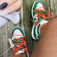 Bunchsun NIKE Dunk Low x Off-White Hot Sale Men Classic Sport Shoes Sneakers Green&White