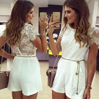 White Floral Lace Short Sleeve with Chain Belt Romper