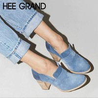 HEE GRAND Shallow Women Ankle Pumps NEW Sexy Square High Heels Faux Suede Platform Shoes Women For Spring Size 35-43 XWD6991