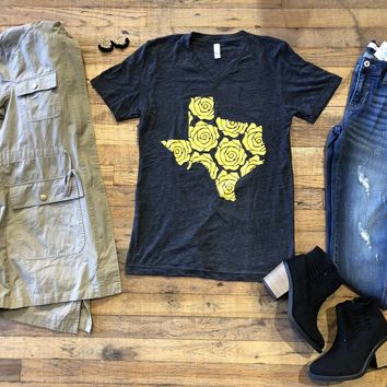 Yellow Rose of Texas Tee in Charcoal