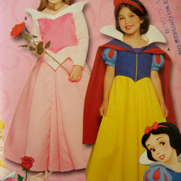 Simplicity Sewing Pattern 9384 Disney Princess Costume Snow White Costume Sleeping Beauty Costume 0626 Toddler Child Size 3 4 5 6 7 8 UNCUT