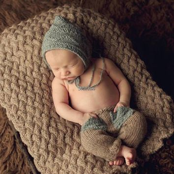 born Baby Cute Crochet Knit Costume Prop Outfits Photography Baby Hat Pants