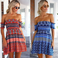 SIMPLE - Off Shoulder Tribal Beach One Piece Dress a12234