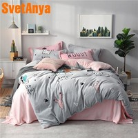 Svetanya Fleece warm Bedding Linen Cactus Print Queen Full Double Size (flat Sheet +Pillowcase +Comforter Cover) Sets