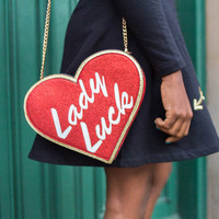 Lady Luck Glitter Heart Clutch Crossbody Bag with Metal Chain Strap - Red