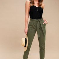 Leo Olive Green Tie-Waist Cropped Pants