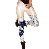 Wave Print Elastic Waistband Leggings