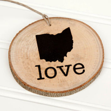 Ohio Love state shape Maple wood slice ornaments - Set of 4.  Wedding favor, Bridal Shower, Country Chic, Rustic, Valentine Gift
