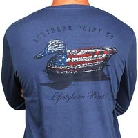 SPC Signature Long Sleeve Flag Decoy Tee in Navy by Southern Point Co.