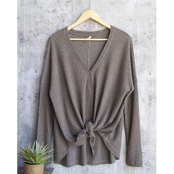 EVA Long Sleeve Thermal Waffle Knit V-Neck Button Down Lightweight Sweater in Olive