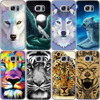 Wolf Lion Tiger Soft TPU Pattern Phone Case for Samsung Galaxy S7 S6 S7 Edge S6 Edge S5 Grand Prime G530 Painted Back Cover