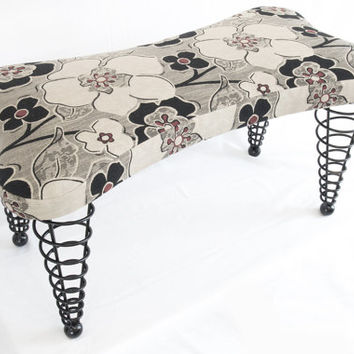 "Modern Handmade Upholstered Bench, Dog bone shape with Spiral Cone Legs, 36"" Length, Black Floral Fabric"