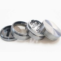 2.0 Inch Aluminum Hexagonal Herb Grinder 4 Piece and Tobacco Grinder with Pollen Catch&free Scrapper Color Grey