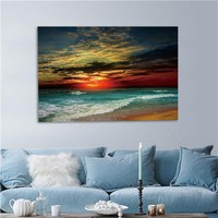 Framed Home Decor Framed Canvas Print Modern Wall Art Seascape Beach Picture