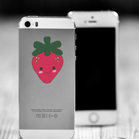 """Strawberry Kawaii Die Cut Sticker // Cute Japanese // Cell Phone & Tablet Small Size // 2"""" // Perfect For Indoor, Outdoor, Laptop, Car"""