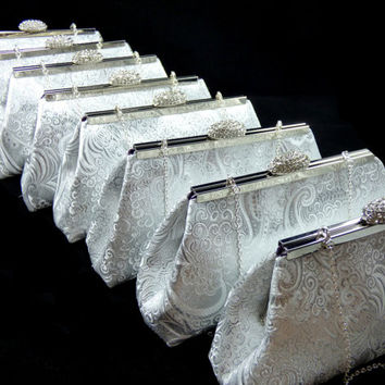 Set of Eight Silver Paisley and Eggplant Purple Bridesmaid Gift Clutches 5% Off