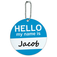 Jacob Hello My Name Is Round ID Card Luggage Tag