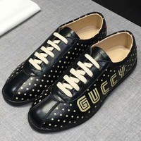 GUCCI 2018 autumn and winter new wild fashion men's white shoes Black