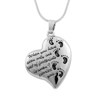 Heart Shaped Footprints Pendant Prayer Cremation Memorial Urn Necklace Antique Silver Plated Baby Child Feet Family Jewelry